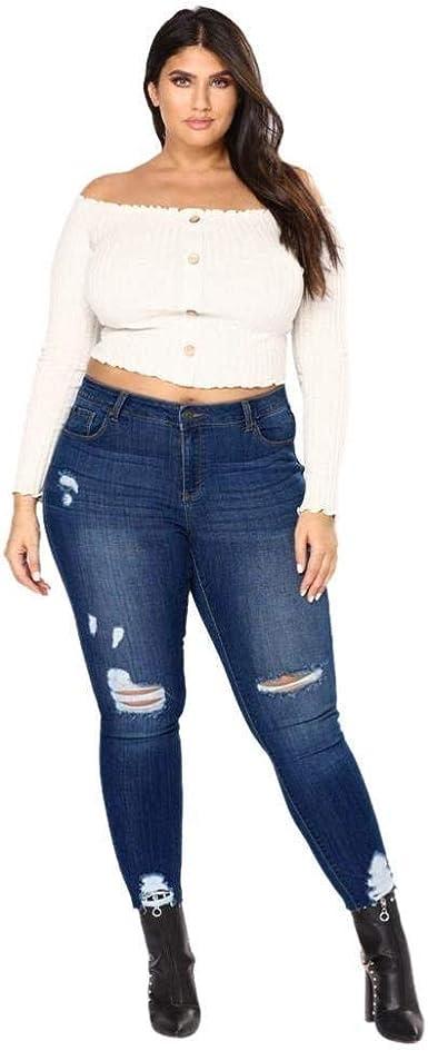 Saoye Fashion Mujeres Tallas Grandes Estiradas Estiradas Pantalones Vaqueros Delgados De Mezclilla Ropa Pantalones De Cintura Alta Pantalones De Mezclilla Pantalones Vaqueros Con Agujeros Chern Jeans Amazon Es Ropa Y Accesorios