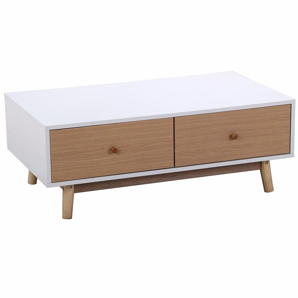 Amazon Topeakmart Modern Coffee Table With 2 White Drawers
