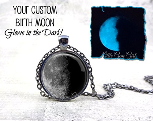 on Glow in the Dark Necklace or Key Chain Charm - Glowing Personalized Birthday Moon Phase Pendant in 5 Metal Finishes includes UV Charging Flashlight ()