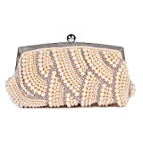 Damara Womens Exquisite Pearl Crystal Clutch Evening Shoulder Bag,Champagne