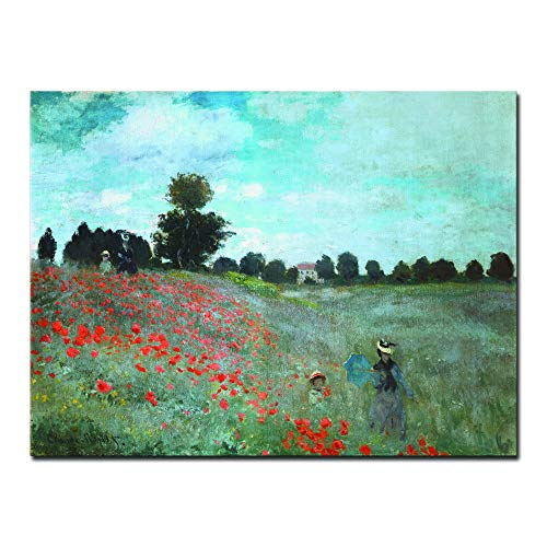 - Wieco Art The Poppy Field Near Argenteuil Giclee Canvas Prints Wall Art of Claude Monet Famous Floral Oil Paintings Reproduction Classic Flowers Landscape Pictures Artwork for Bedroom Home Decorations