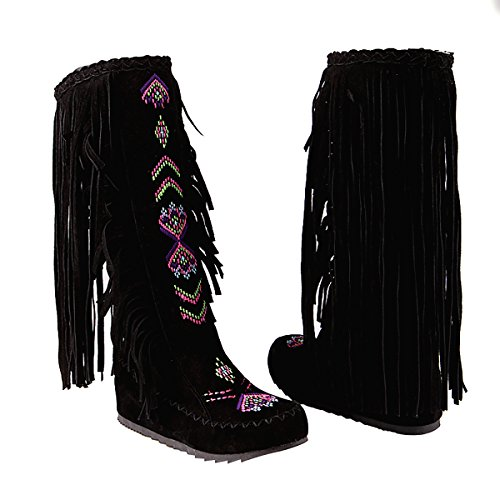 Inornever Knee High Boots for Women Moccasins Embroidered Fringed Booties Winter Flats Suede Long Snow Boots Black 8 B (M) US - Knee High Moccasins