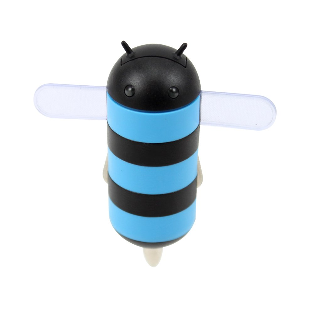 Gen HoneyDru Android themed 2A USB Car Charger with Micro-USB Coil Cable - Blue/Black