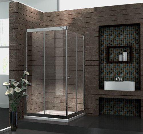 6 mm Duschkabine Duschabtrennung Eck-Dusche Schiebetür 100 x 100 x 195 cm SLIDE ohne Duschtasse