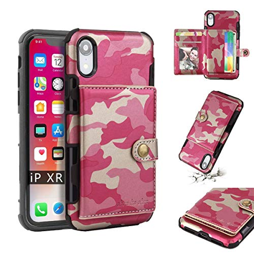 (iPhone Xs Max Case, Ranyi Camouflage Wallet Hard Cover [4 Card Holder/Slots] [Magnetic Buttons] Shock Absorbing Premium PU Leather Full Body Protective Rugged Case for 6.5