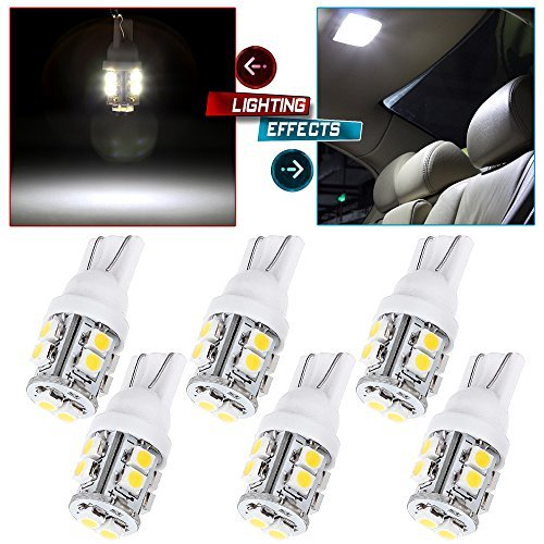 cciyu (Total of 6Pcs) T10 White 168 194 2825 W5W 10 SMD LED Car Interior Light Lamp Bulbs DC 12V Replacement fit for 2010-2012 Lexus HS250h