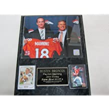 Peyton Manning John Elway Denver Broncos 2 Card Collector Plaque w/Press Conference 8x10 Photo