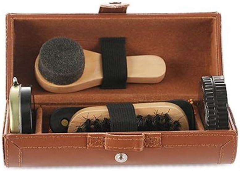 Cepillo para Zapatos Esponja bet/ún pa/ño de Limpieza ruiruiNIE Conjunto de Cuidado de Zapatos de Cuero de 6 Piezas Calzador Cepillo de Esponja