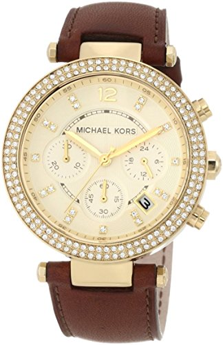 b3c6e971e3fe Michael Kors Chronograph Gold Dial Crystal set Ladies Watch MK2249  (B006IV0ULE)