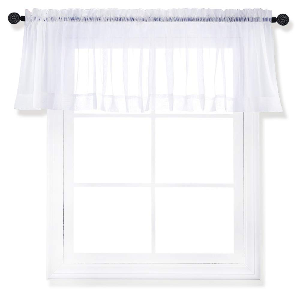 Nicetown Sleek Sheer Voile Curtain - Rod Pocket Valance Fashion Window Treatment Drapery Panel Bedroom for Parlor/Hall / Villa(Single Panel,W60 x L20 inches, White) Nicetown_Sheer