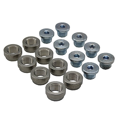 LEDAUT M18X1.5 O2 Oxygen Sensor Bung And Plug Kits (8 Bungs/ 8 Plugs) Oxygen Sensor Fittings Weld Bung Universal Fit