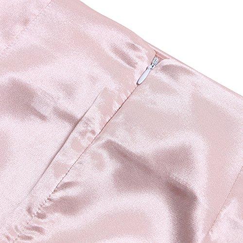t Femme Couleur Unie Haute Taille Mini Jupe Sexy Moulante Package Hanche Jupes de Party Rose