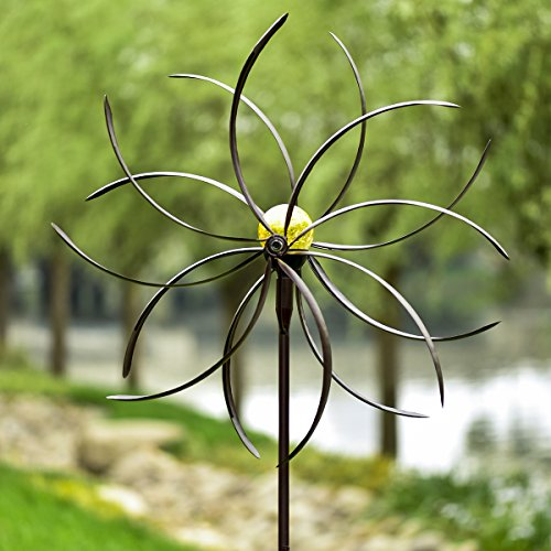 GIGALUMI Solar Wind Spinner Crackle Glass Ball Solar Lights, 25.5'' Dia, Bronze Powder Coated Finish, Dual Rotors Wind Sculpture Yard Art Garden Decoration by GIGALUMI