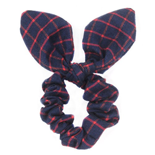 Pack of 2 Classic Check Plaid Hair Scrunchies Bunny Ear Scrunchies Bow Hair Ponytail Holders