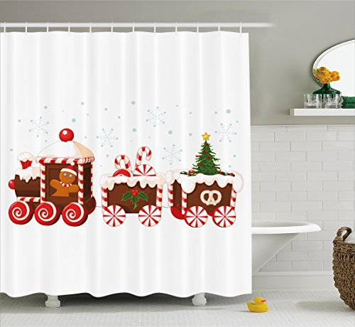 Ambesonne Christmas Shower Curtain, Train with Gingerbread C