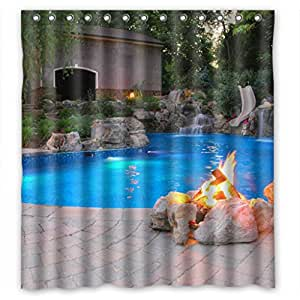 "Beautiful charming blue pool scenery Shower Curtain Measure 66""(w)x72""(h)"