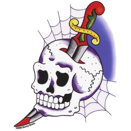 Sunny buick cobweb skull sticker decal