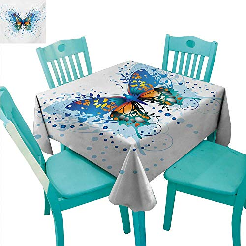 (WilliamsDecor Swallowtail Butterfly Flow Spillproof Fabric Tablecloth Stylized Animal with Twigs Curls and Dots Abstract Art Great for Buffet Table 60