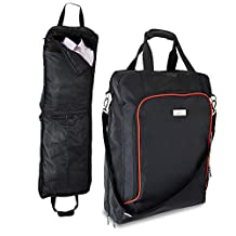 Cabin Sized Business Suit and Dress Carrier Garment Bag - 55x40x18cm - Carry On (Black)
