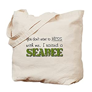 CafePress - I raised a Seabee (green) Tote Bag - Natural Canvas Tote Bag, Cloth Shopping Bag by CafePress