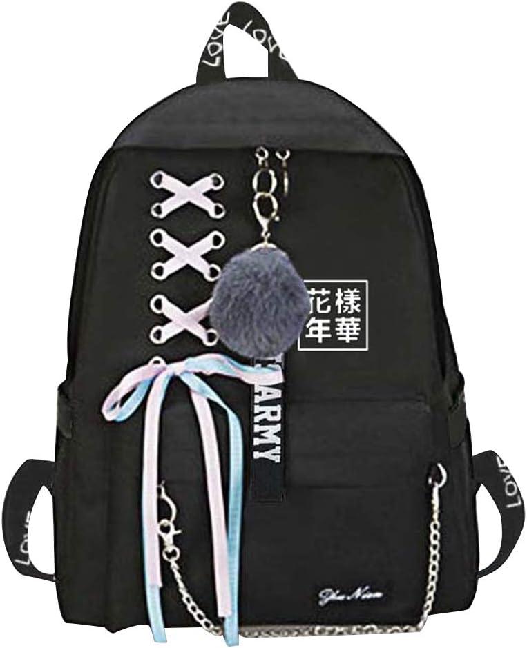 Kpop BTS Sac /à Dos avec Oreille et Pompom Porte-cl/és Sac dEcole Ordinateur Laptop Portable Knapsack Backpack Daypack Cartable de Vovaya Sport Randonn/ée pour Ados Fille Etudiants College