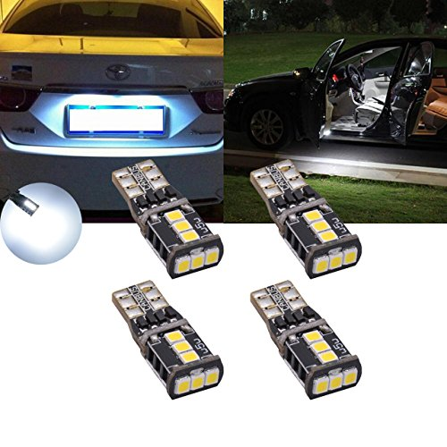 TUINCYN 4-Pack White 168 T10 2825 175 W5W 194 901 912 921 CanBus Erro Free Interior Car LED Bulb 2835 21SMD License Plate Lights Sidemarker Door Map Dome LED Light Bulbs 7W DC 12V