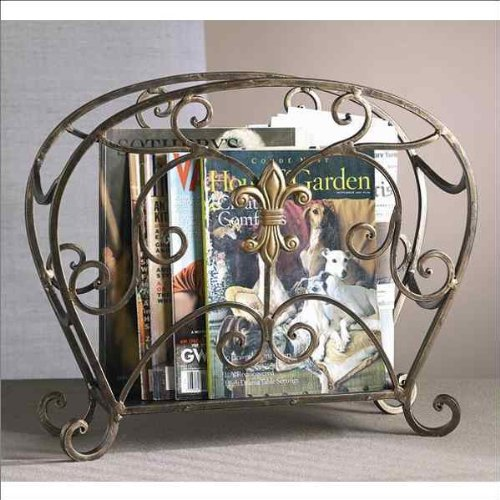 Fleur-De-Lis Magazine Holder in Bronze by DH Decor