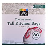 365 Everyday Value Tall Drawstring Kitchen Bags Flextra 13 gallon, 60 Count