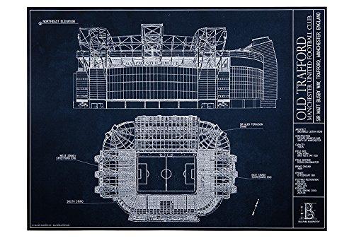 Manchester United Club (Old Trafford - Manchester United Football Club - Blueprint Style Print (Unframed, 18