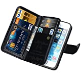 iPhone 5 case, iPhone 5s wallet case, BRG [WRISTLET] [6 CARD HOLDER] [MAGNETIC DETACHABLE] PU Leather Folio Flip Credit Card Slots Cash Holder Wrist Strap Case for Apple iPhone 5 5s, (Black) Review