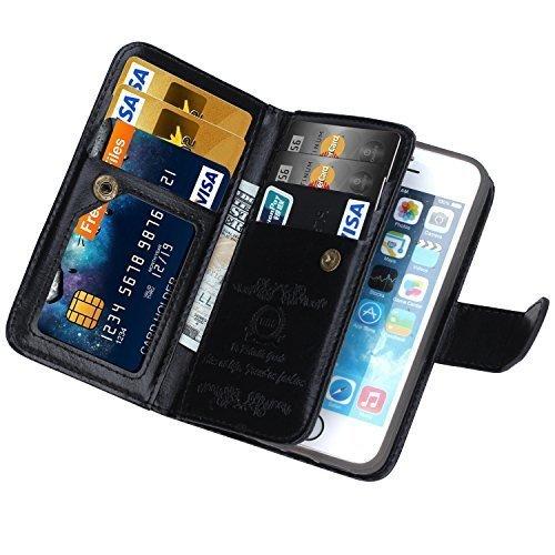 iPhone 5 case, iPhone 5s wallet case, BRG [WRISTLET] [6 CARD HOLDER] [MAGNETIC DETACHABLE] PU Leather Folio Flip Credit Card Slots Cash Holder Wrist Strap Case for Apple iPhone 5 5s, (Black)