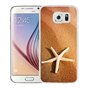 NEW Unique Custom Designed Samsung Galaxy S6 Phone Case With Starfish And Sand_White Phone Case