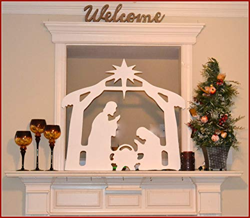 Christmas Nativity Indoor/Outdoor Mantel Display Creche Scene Window Nativity Display Yard Art