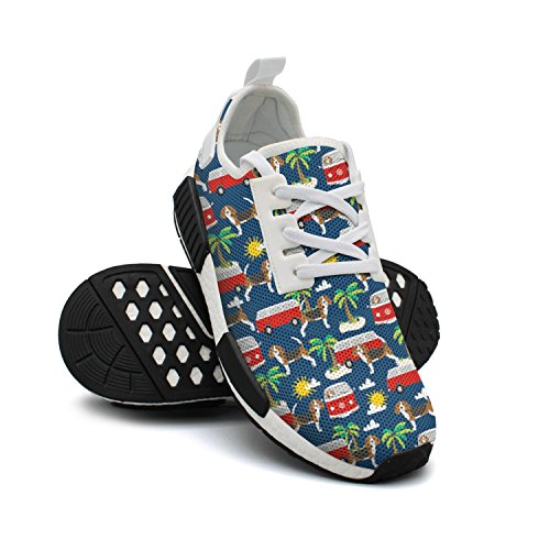Shoes Sneakers Lightweight FAAERD Palm Breathable Running Bus Trees Womens Beach Mesh Beagle Cool Fashion Dog ZUpwUqR6
