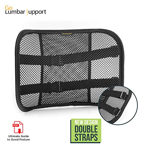 (Go Lumbar Support Mesh Back Cushion for Car Seat Desk Office Chair [UPGRADE VERSION WITH STRAP], Recommended by Chiropractor Dr. Jose Guevara for Orthopedic Driving Comfort and Posture Support,)