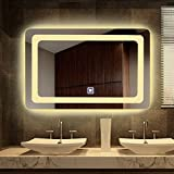 Alice Dimmable Vanity LED Backlit Mirror 36''x28'' Anti-fog Wall Mounted Bathroom Mirror with Touch On/Off Switch Button and Defogger
