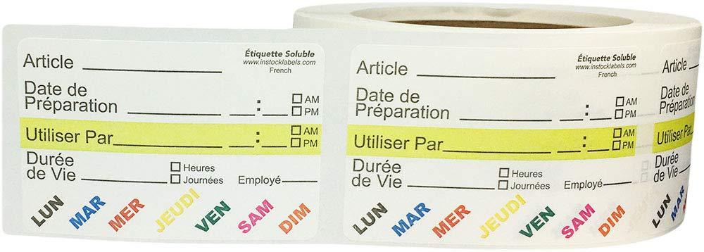 Soluble Vie Alimentaire Rotation Pr/éparation Utiliser Par Autocollants avec le Texte Fran/çais 51 x 76 mm 2 x 3 Pouces de Large 500 /Étiquettes sur un Rouleau