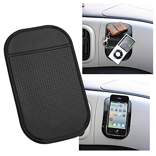 Magic Mat TWIN PACK -Universal Magic Sticky Anti-Slip black Securely holds Cell Phones, GPS's, Garage Door Openers, Sunglasses Pens Coins Cleans with Soap and Water to renew original luster Tacky-ness by Cajole (Image #4)