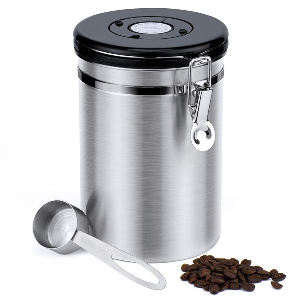 50% off Glotoch Airtight Coffee Canisters-Stainless Steel Coffee Storage Container, Vault with Built-in CO2 Gas Vent Valve & Date Tracking Wheel &Scoop -Large(64oz), Silver Glotoch Express