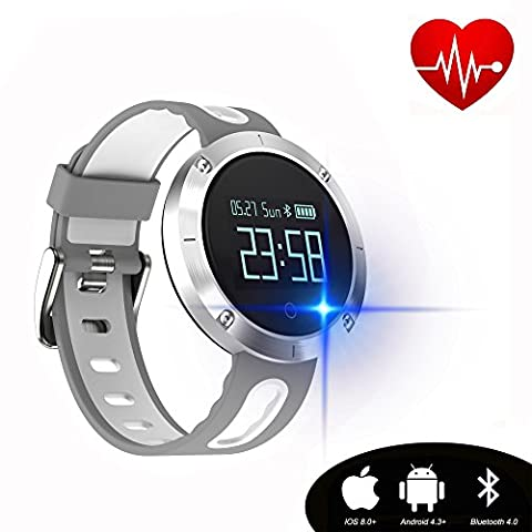 Kingkok Blood Pressure Heart Rate Monitor Step Counter Watch Sleep Monitor Message Reminder Smart Fitness Trackers Waterproof (Watch Waterproof Prime)