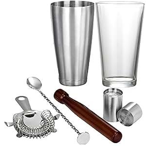 Vonshef - Vonshef juego coctelero boston – incluye mortero de madera + cuchara mezcladora de bar + colador hawthorne de cócteles + 2 medidores de shots + mezcladora de acero inoxidable de 28 oz + vaso de 16oz