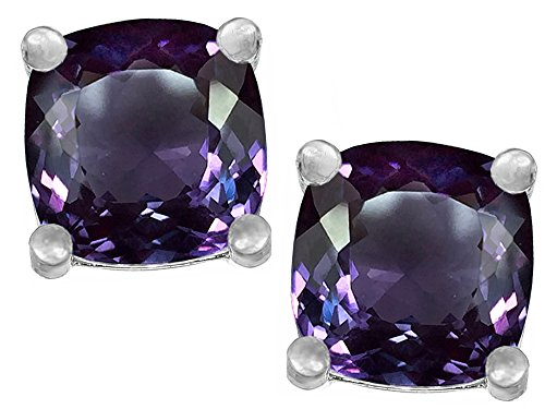 Star K Cushion Cut 7mm Simulated Alexandrite Earrings Studs Sterling Silver