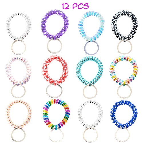 12 PCs Pack Spiral Coil Telephone Wire Cord Stretch Spring Bracelet Key Ring/Key Chain/Key Hook/Key Holder for Gym, Pool, ID Badge and Outdoor Sports - Great Party Favors, Stocking Stuffers (Glossy)