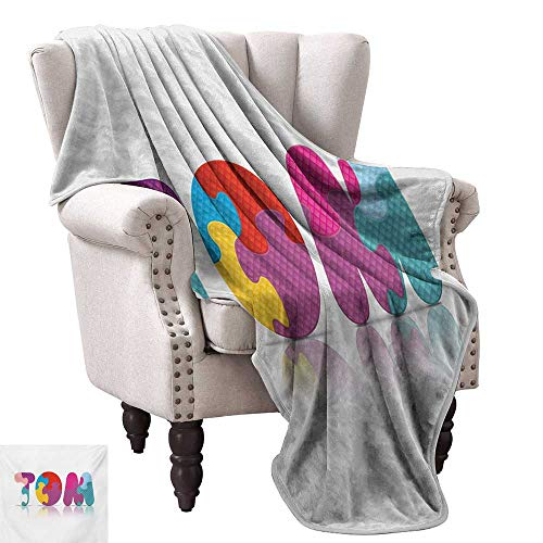 Anyangeight Throw Blanket,Children Newborn Themed Colorful Boy Name Design Abstract Educational Puzzle Pattern 90