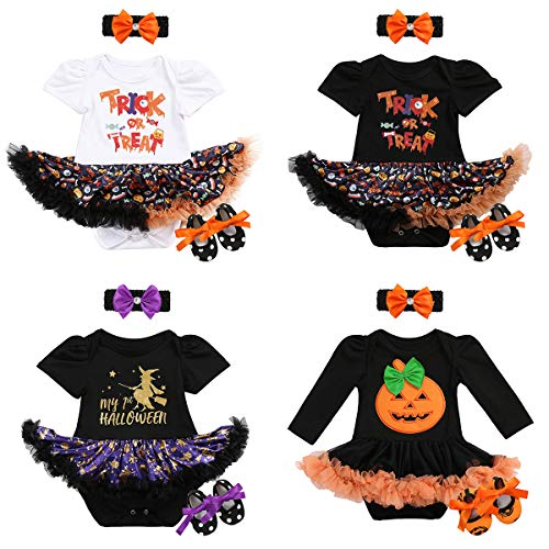 My 1st Halloween Baby Girls Romper Dress+Headband+Shoes Tutu Outfit Fancy Dress Party Costume 2/3Pcs Set Infant Clothes