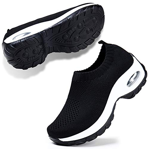 Womens Slip On Breathe Mesh Walking Shoes Women Fashion Dance Sneakers Comfort Wedge Platform Loafers Black 5.5
