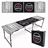 Infusion Custom 8-Foot (Regulation Size) Premium Folding Beer Pong Travel Table - Beach Wood