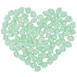 KODORIA 100pcs Artificial Foam Rose Head Artificial Rose Flower for DIY Bouquets Wedding Party Home Decoration - Light Green 70