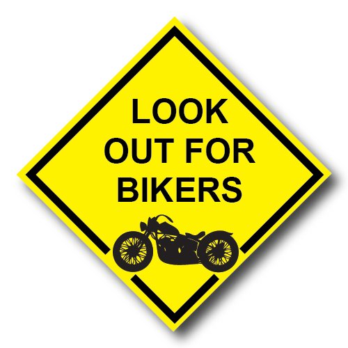 Look out for Bikers REFLECTIVE Decal - Watch Out For Motorcycles Sticker