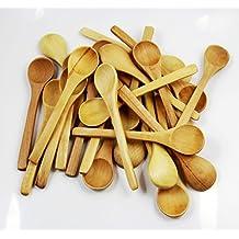 "CHENGYIDA 50PCS 5"" Mini Wooden Spoons Condiments Salt Spoons,Wooden Cooking Spoon,NATURAL WOOD HANDCRAFT MINI SPOON ICECREAM RICE SCOOP CHILDREN"